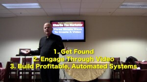 Charlie Seymour Jr, also known as Charlie The Marketer, presents 3 Simple Ways To Create A Video. This is the full recorded-live presentation.